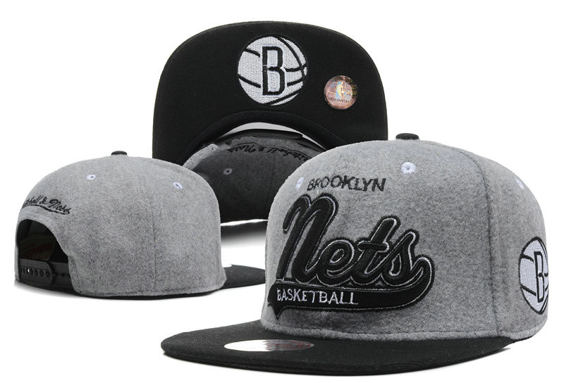 Brooklyn Nets Grey Snapback Hat DF 0512